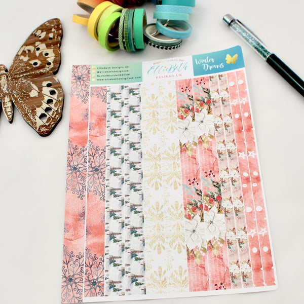 'Winter Dreams' - Washi Strips -  A5 binder ready planner stickers