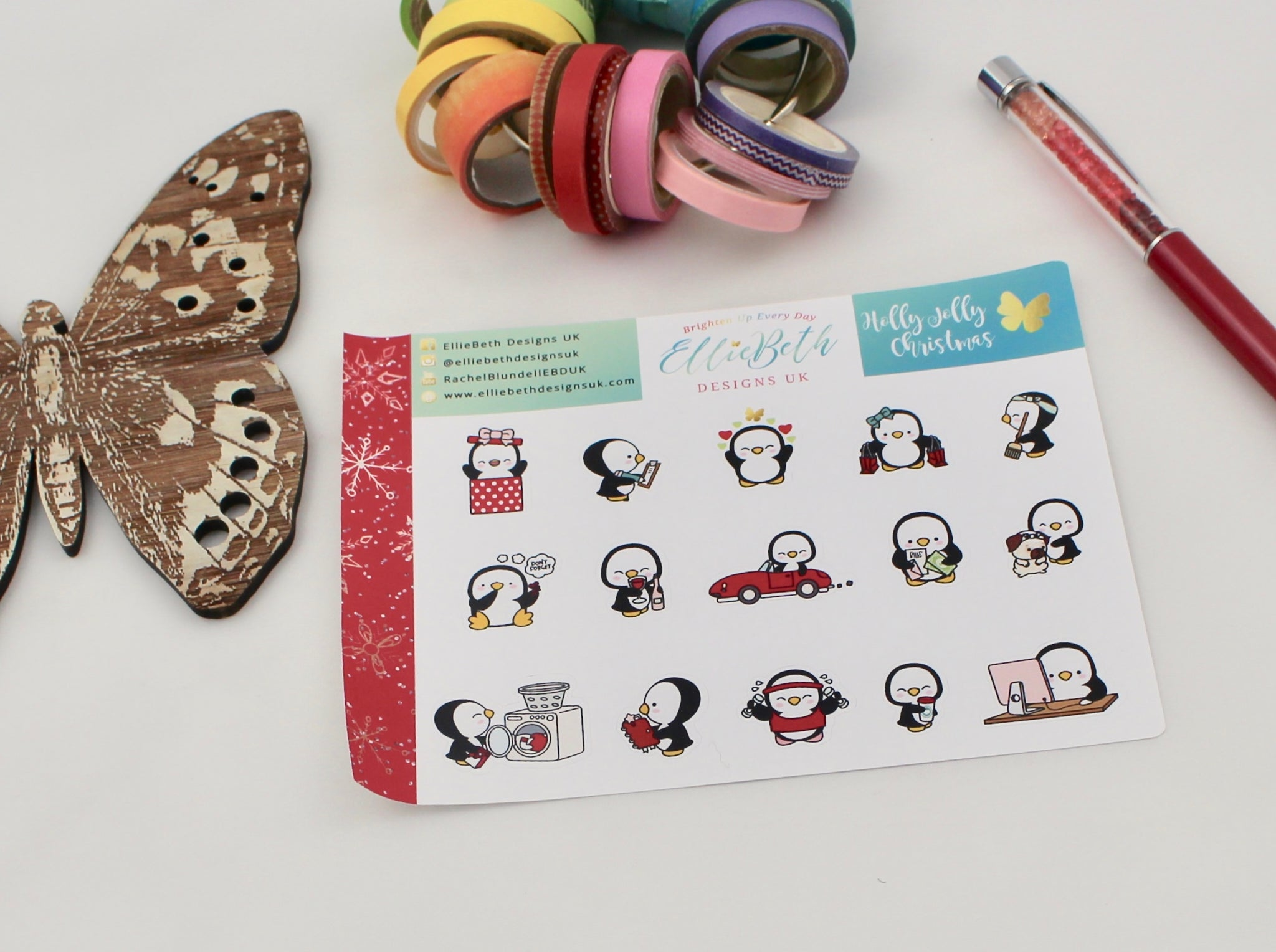 'Holly Jolly Christmas' - A Penguin For Every Occasion -  binder ready planner stickers