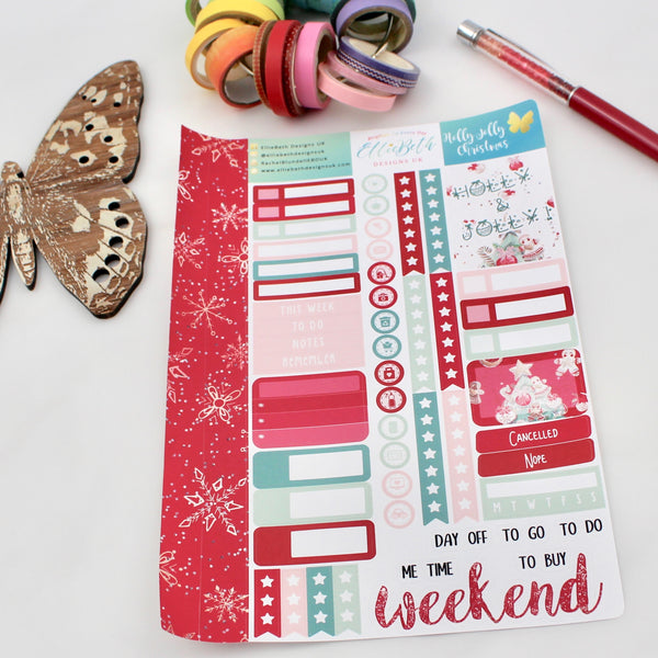 'Holly Jolly Christmas' - Core Sheet -  A5 binder ready planner stickers