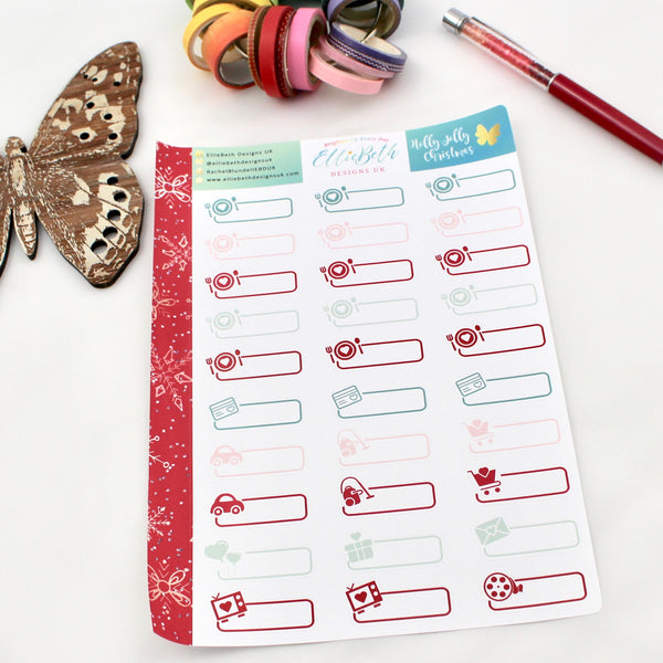 'Holly Jolly Christmas' - Day to Day Labels -  A5 binder ready planner stickers