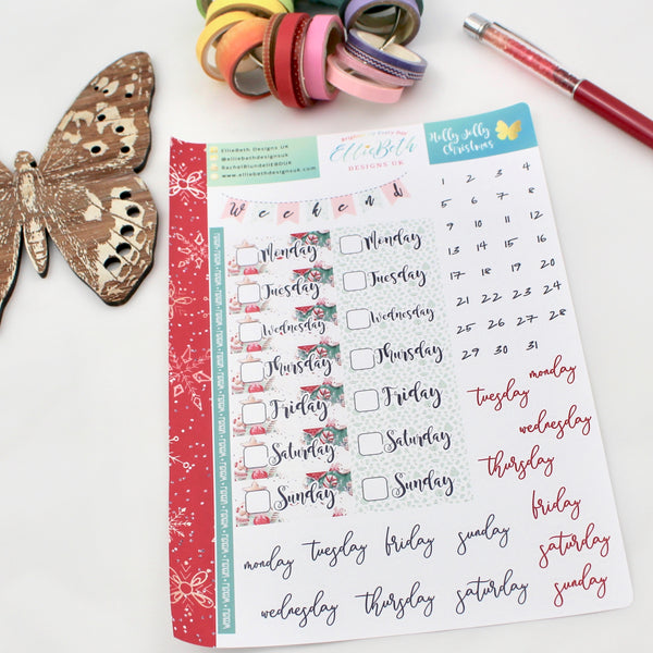 'Holly Jolly Christmas' - Days and Dates -  A5 binder ready planner stickers