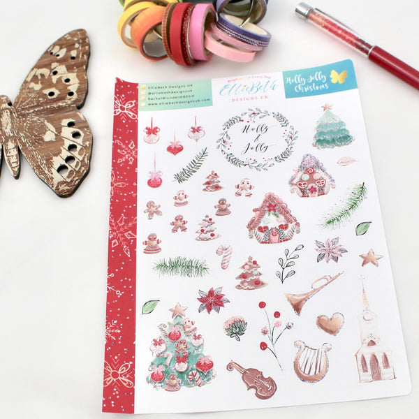 'Holly Jolly Christmas' - Decorative Sheet -  A5 binder ready planner stickers