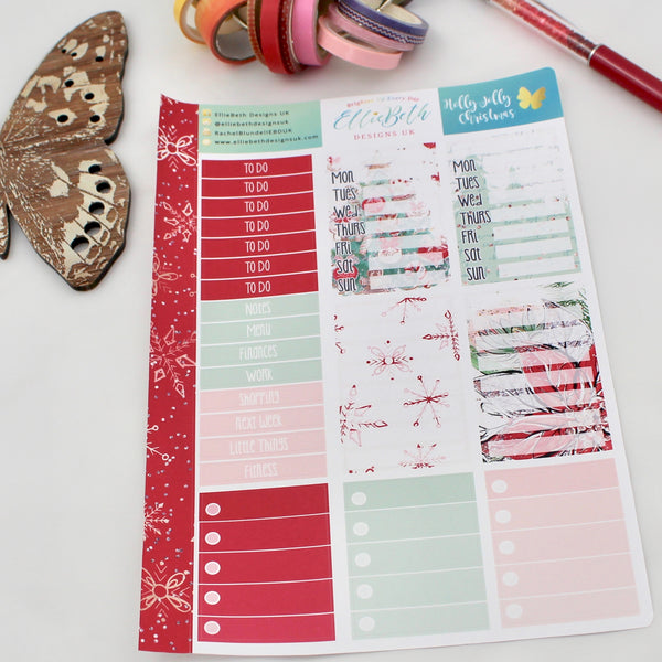 'Holly Jolly Christmas' - Make a List Sheet -  A5 binder ready planner stickers