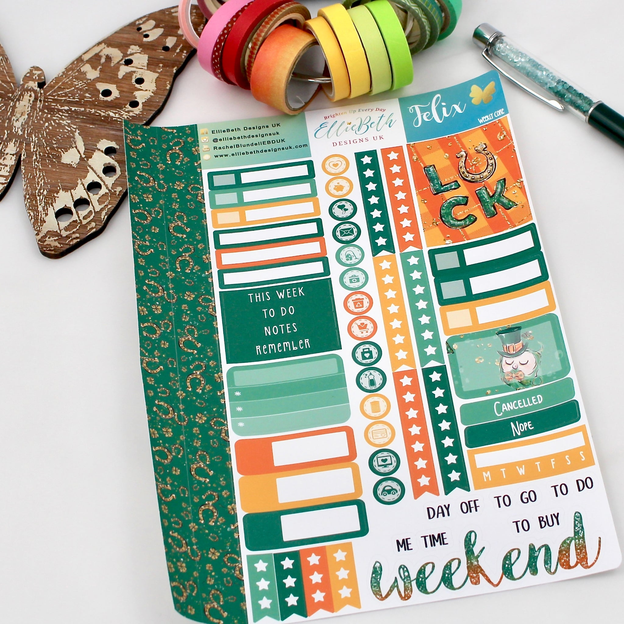 'Felix' - Weekly Core Sheet - A5 binder ready planner stickers
