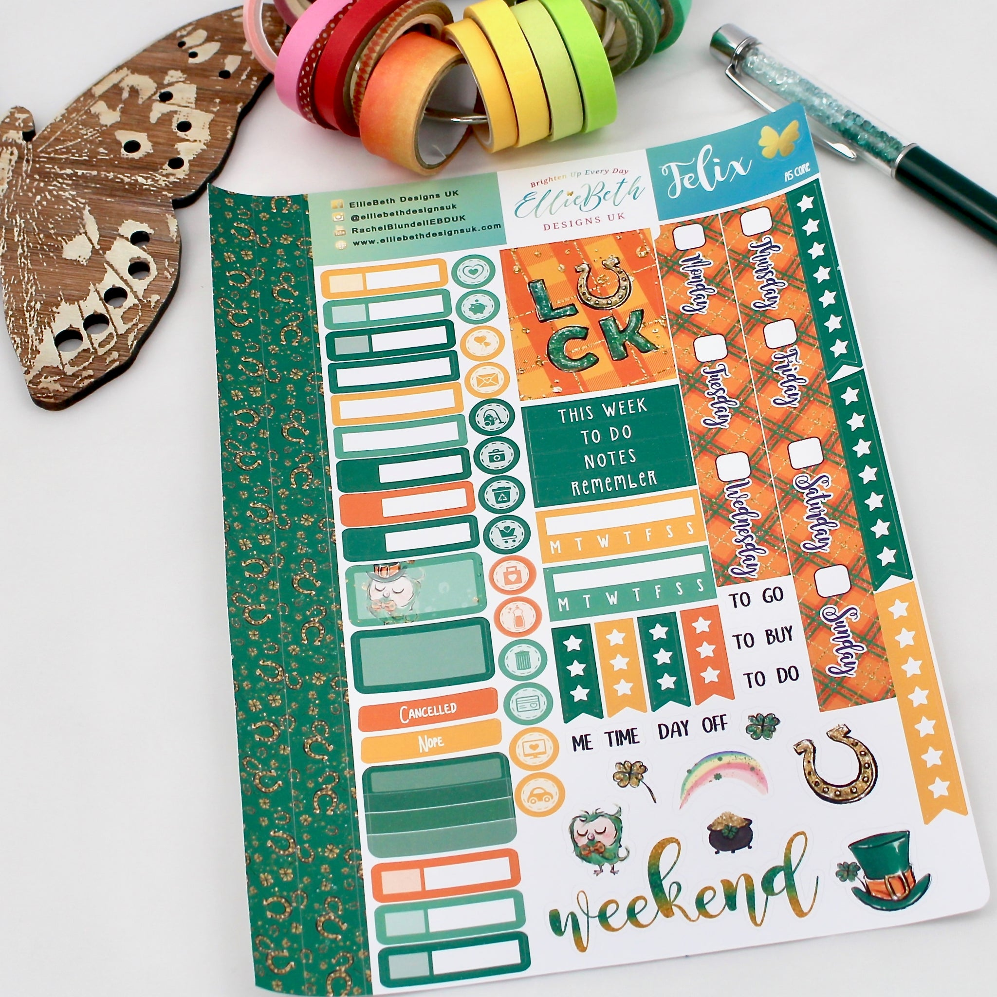 'Felix' - A5 Core Sheet - A5 binder ready planner stickers