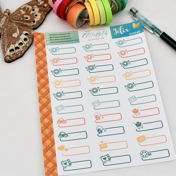 'Felix' - Day to Day Labels - A5 binder ready planner stickers