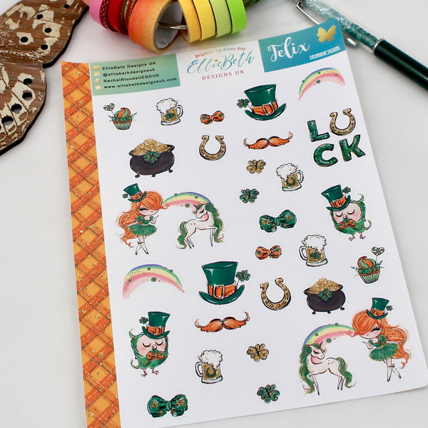 'Felix' - Decorative Sheet -  A5 binder ready planner stickers