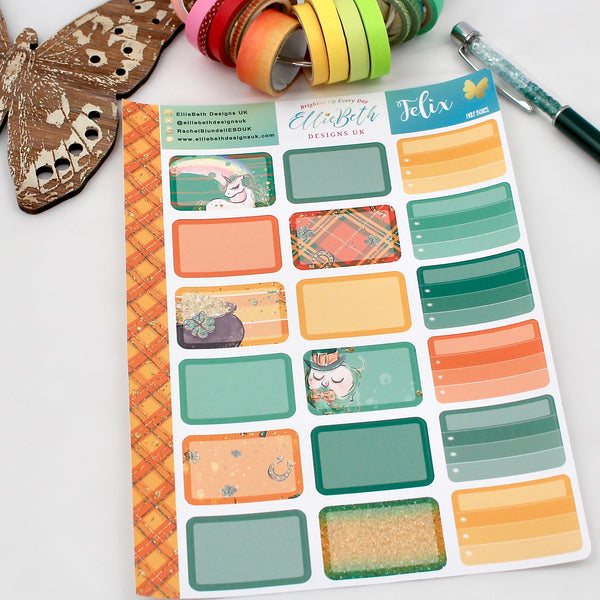 'Felix' - Half Boxes -  A5 binder ready planner stickers