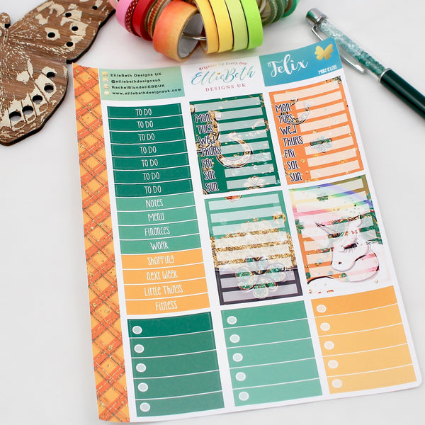 'Felix' - Make a List Sheet -  A5 binder ready planner stickers