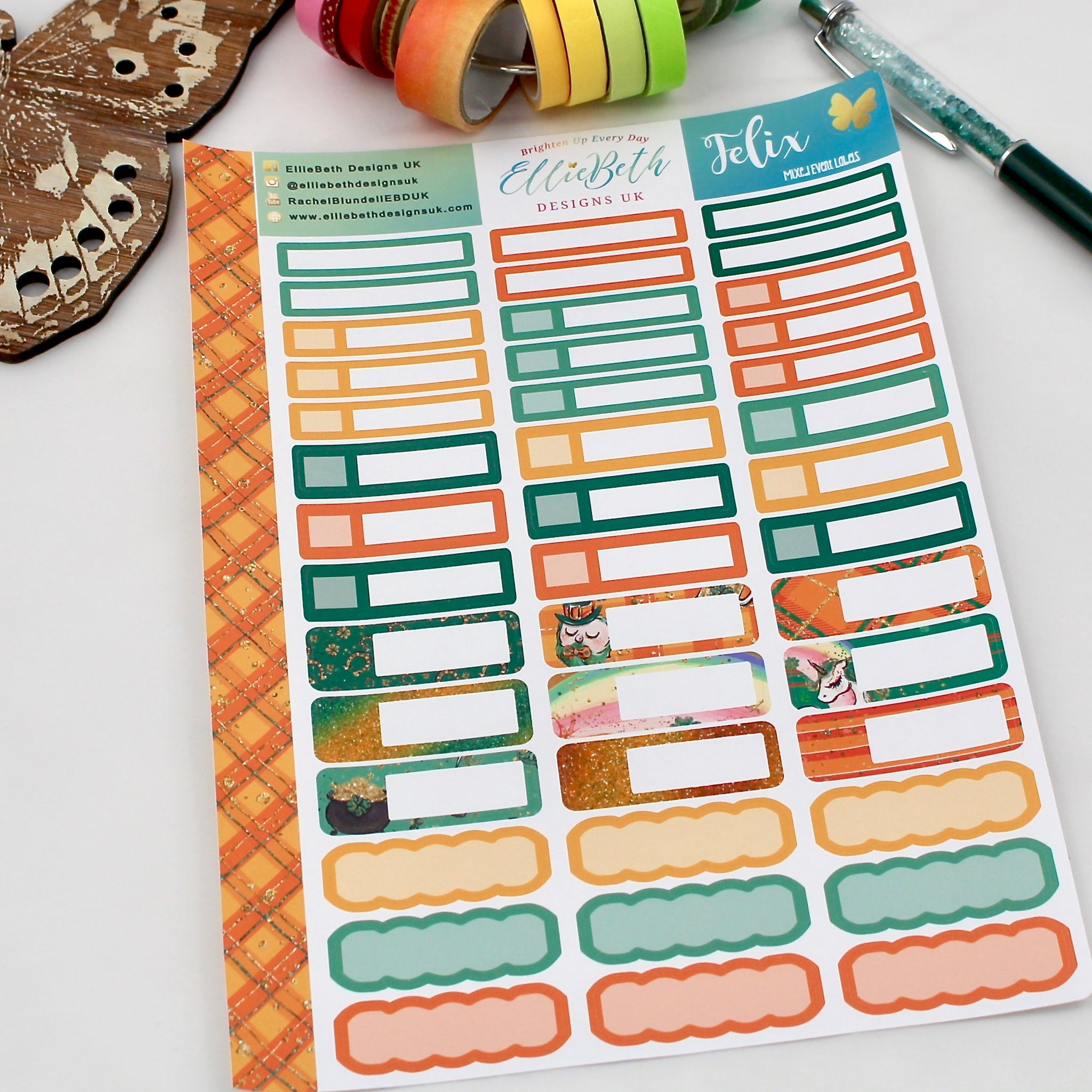 'Felix' - Mixed Event Labels -  A5 binder ready planner stickers - EllieBeth Designs UK
