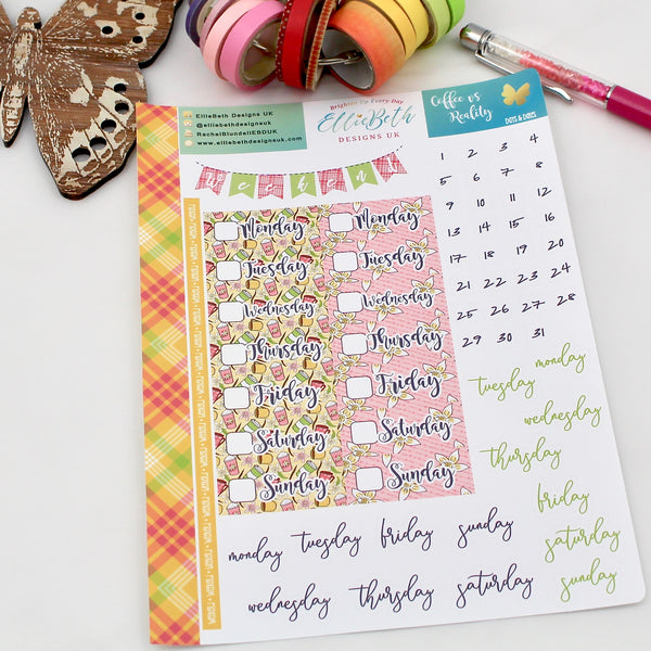 'Coffee vs Reality' - Days and Dates - A5 binder ready planner stickers - EllieBeth Designs UK