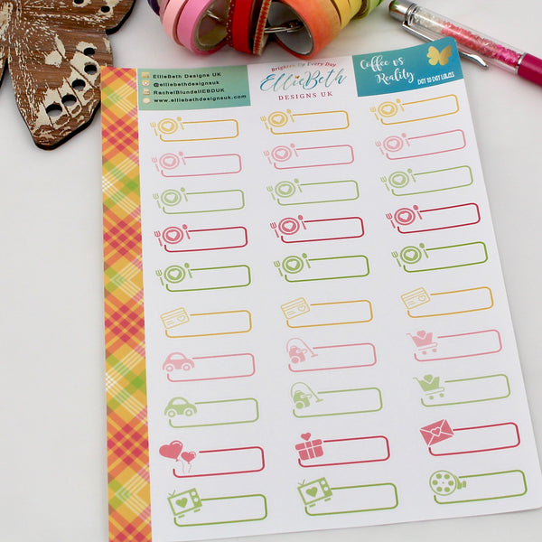 'Coffee vs Reality' - Day to Day Labels - A5 binder ready planner stickers