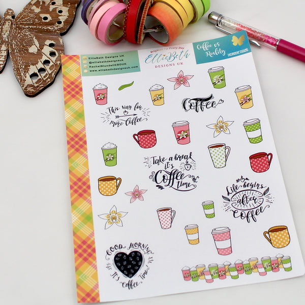 'Coffee vs Reality' - Decorative Sheet -  A5 binder ready planner stickers