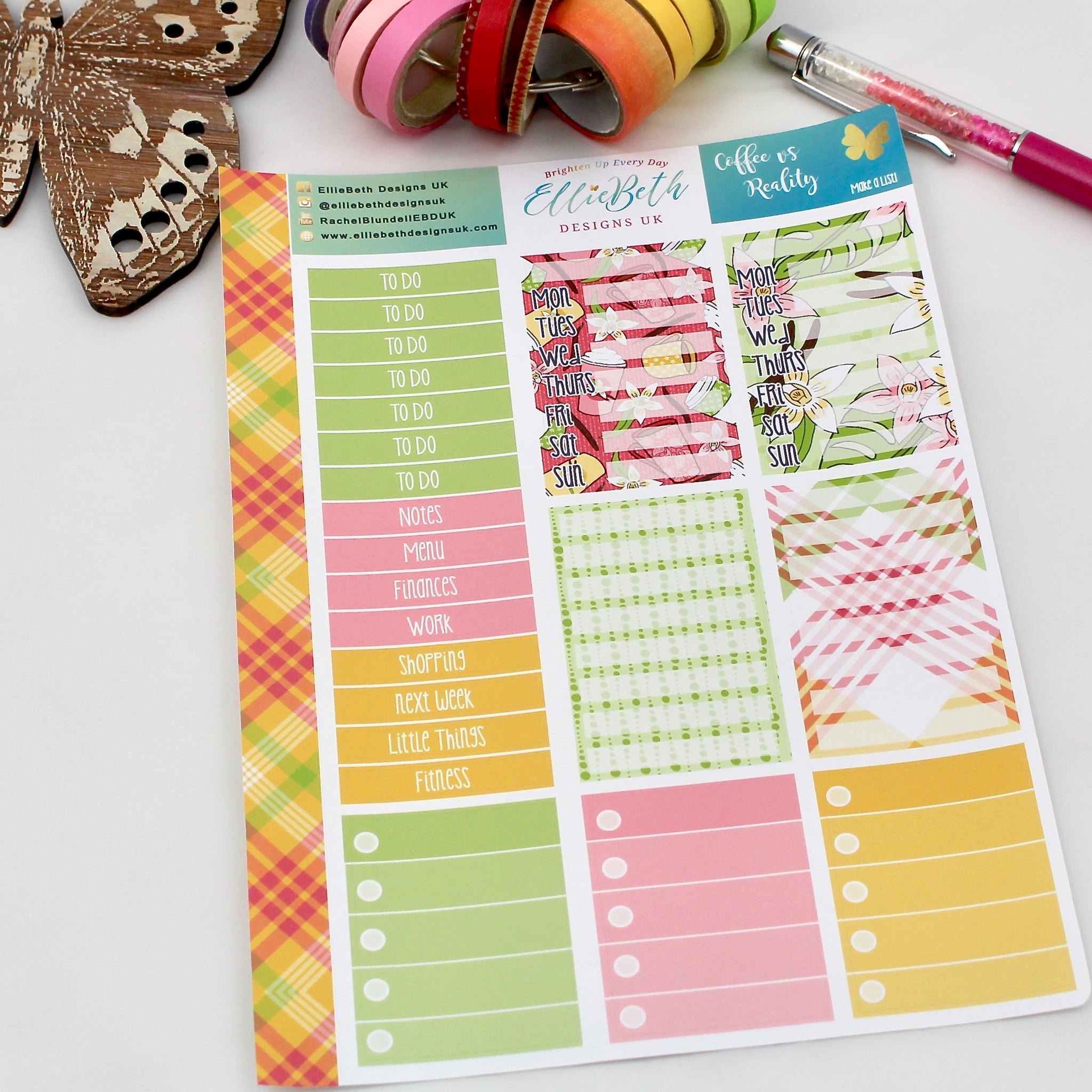 'Coffee vs Reality' - Make a List Sheet -  A5 binder ready planner stickers - EllieBeth Designs UK