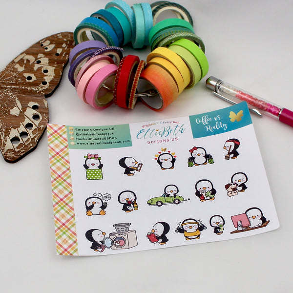 'Coffee vs Reality' - A Penguin For Every Occasion -  binder ready planner stickers