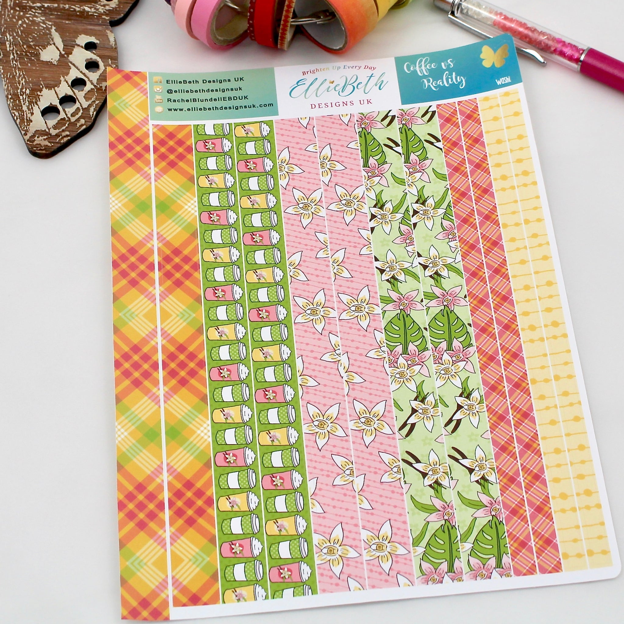 'Coffee vs Reality' - Washi Strips -  A5 binder ready planner stickers