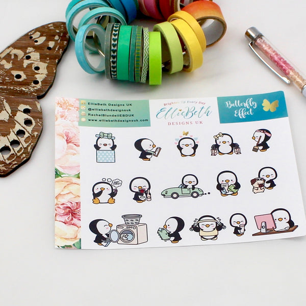'Butterfly Effect' - A Penguin For Every Occasion -  binder ready planner stickers