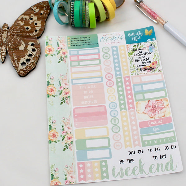 'Butterfly Effect' - Weekly Core Sheet - A5 binder ready planner stickers
