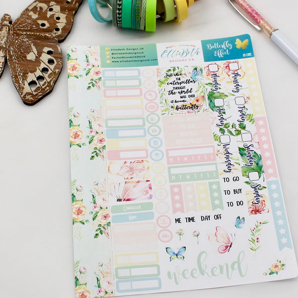 'Butterfly Effect' - A5 Core Sheet - A5 binder ready planner stickers