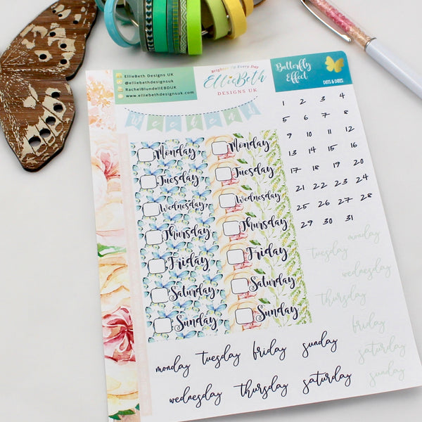 'Butterfly Effect' - Days and Dates - A5 binder ready planner stickers