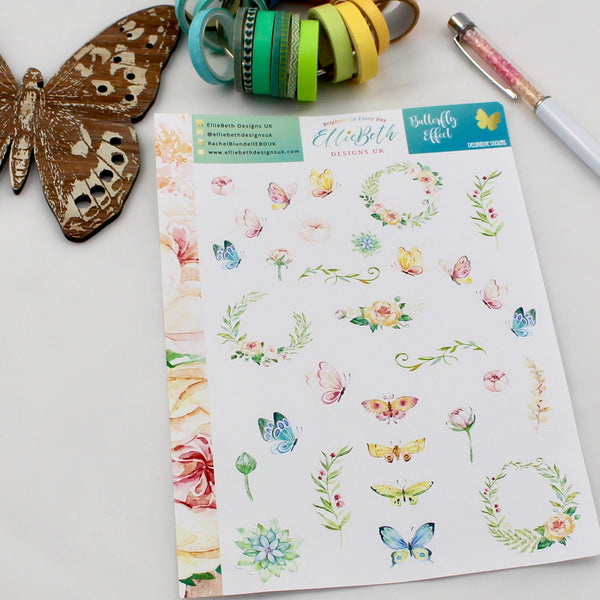 'Butterfly Effect' - Decorative Sheet -  A5 binder ready planner stickers