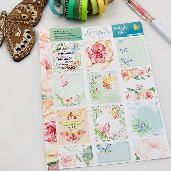 'Butterfly Effect' - Designer Full and Half Boxes Sheet -  A5 binder ready planner stickers