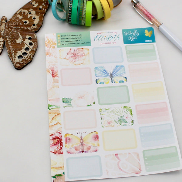 'Butterfly Effect' - Half Boxes -  A5 binder ready planner stickers