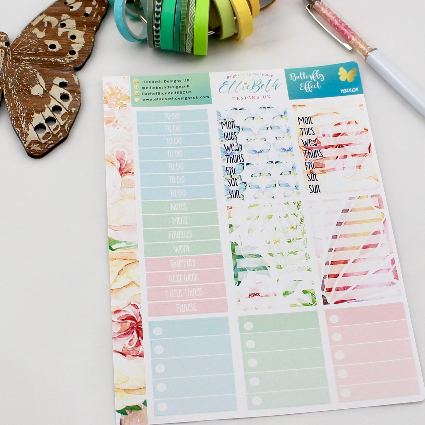 'Butterfly Effect' - Make a List Sheet -  A5 binder ready planner stickers - EllieBeth Designs UK