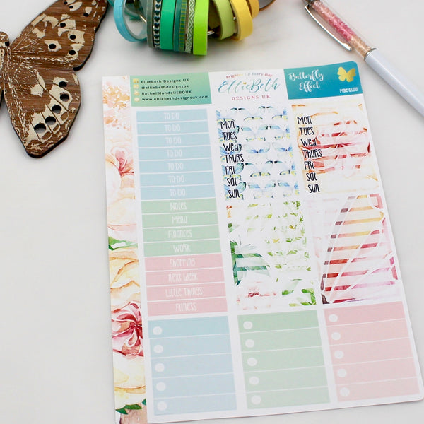 'Butterfly Effect' - Make a List Sheet -  A5 binder ready planner stickers