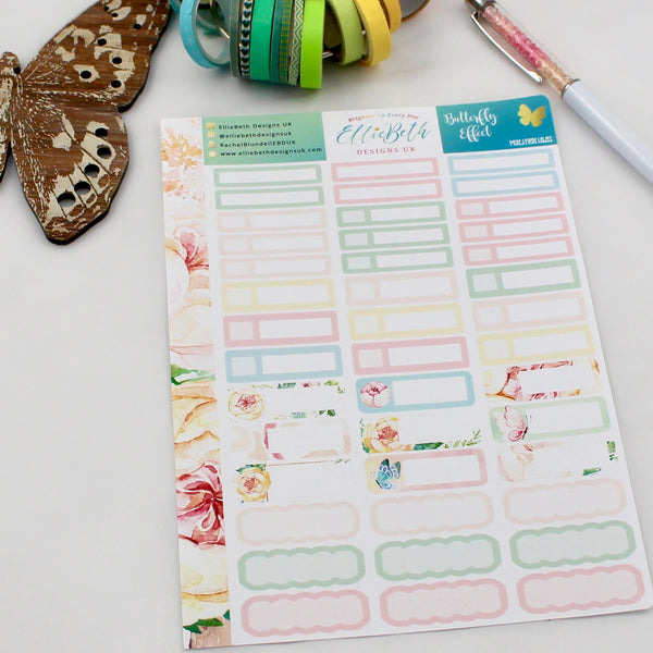 'Butterfly Effect' - Mixed Event Labels -  A5 binder ready planner stickers