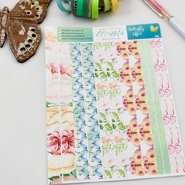 'Butterfly Effect' - Washi Strips -  A5 binder ready planner stickers