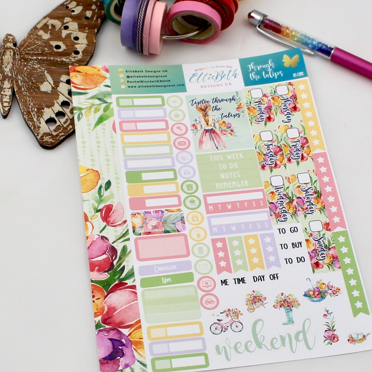 'Through the Tulips' - A5 Core Sheet - A5 binder ready planner stickers