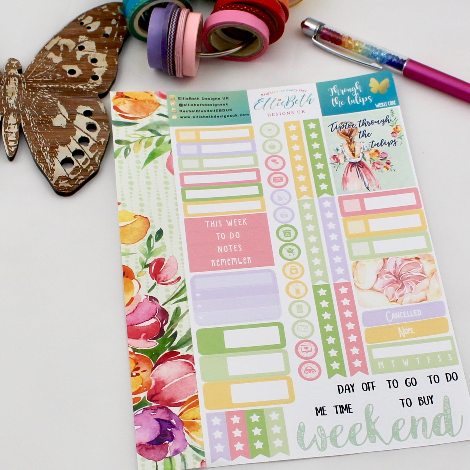 'Through the Tulips' - Weekly Core Sheet - A5 binder ready planner stickers - EllieBeth Designs UK