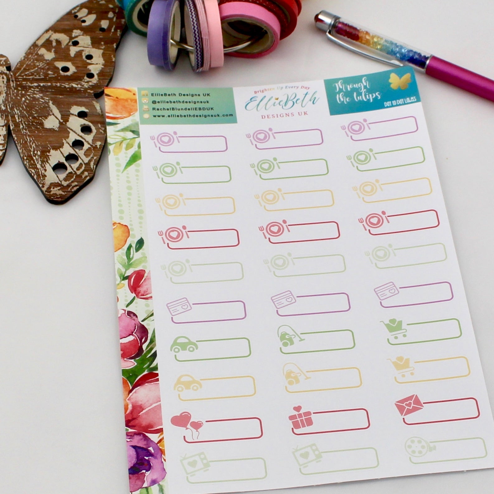 'Through the Tulips' - Day to Day Labels - A5 binder ready planner stickers - EllieBeth Designs UK
