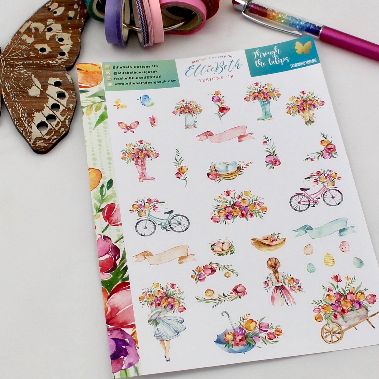 'Through the Tulips' - Decorative Sheet -  A5 binder ready planner stickers