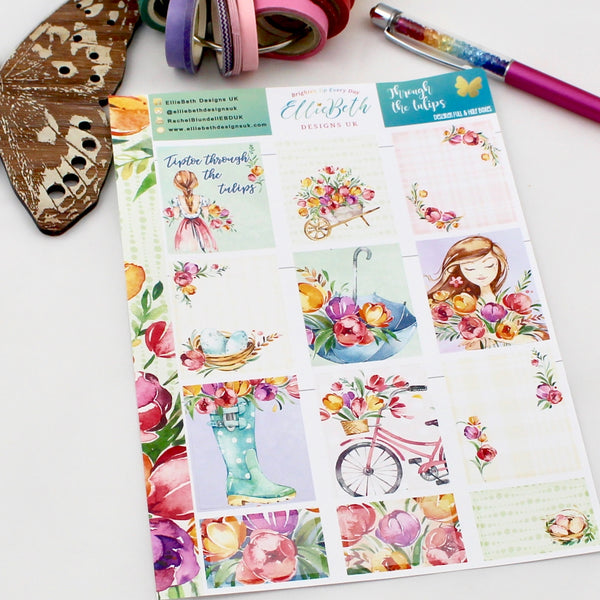 'Through the Tulips' - Designer Full and Half Boxes Sheet -  A5 binder ready planner stickers
