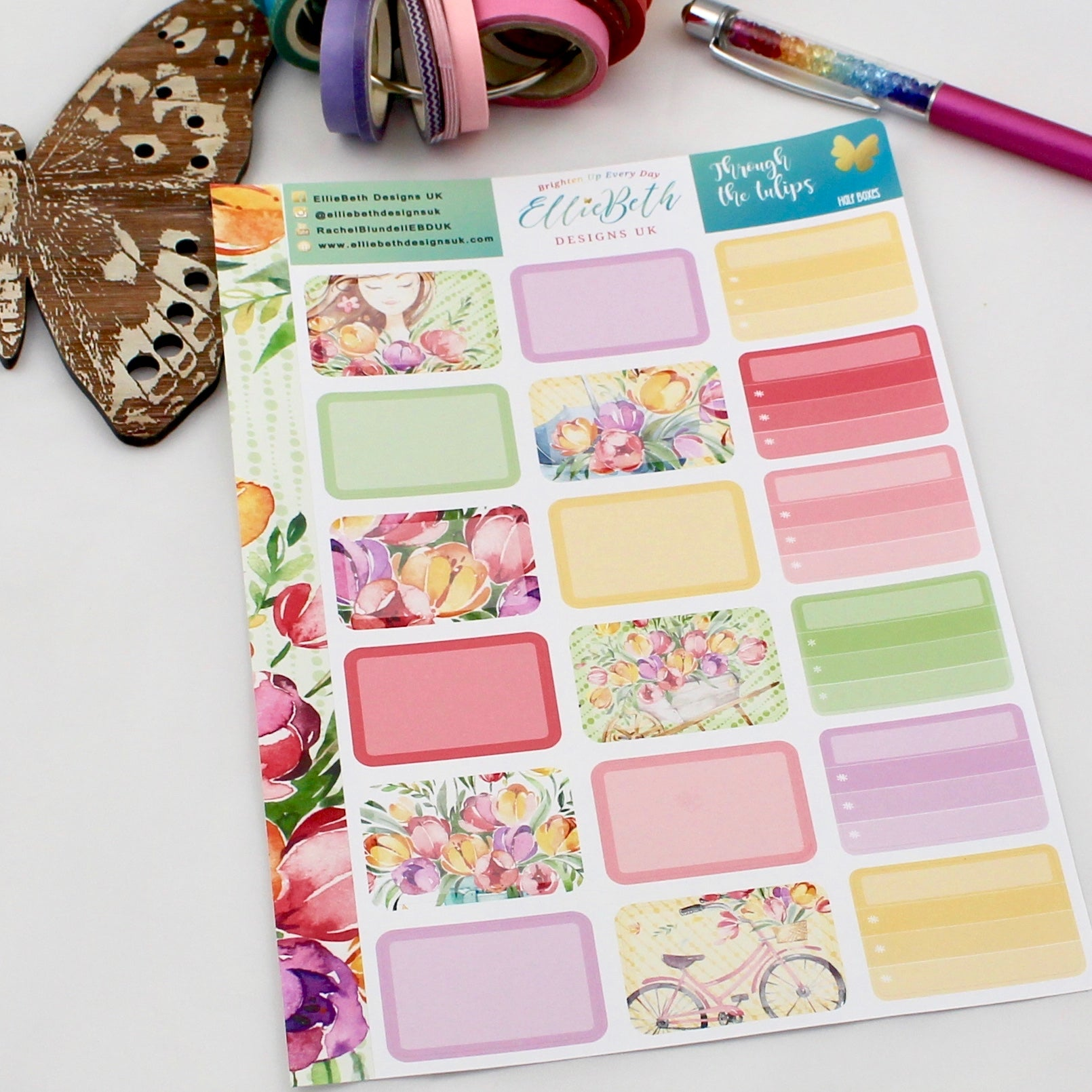 'Through the Tulips' - Half Boxes -  A5 binder ready planner stickers
