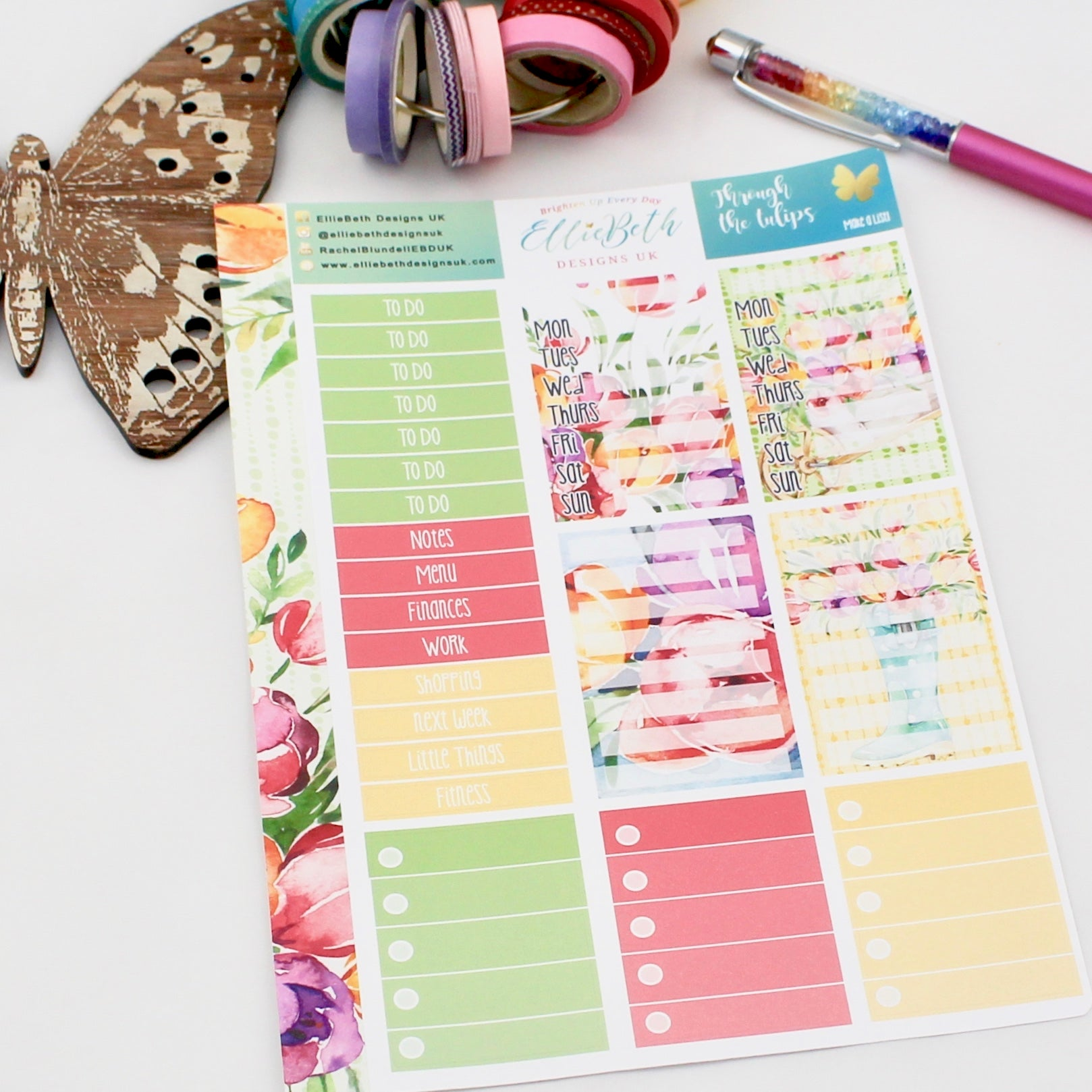 'Through the Tulips' - Make a List Sheet -  A5 binder ready planner stickers