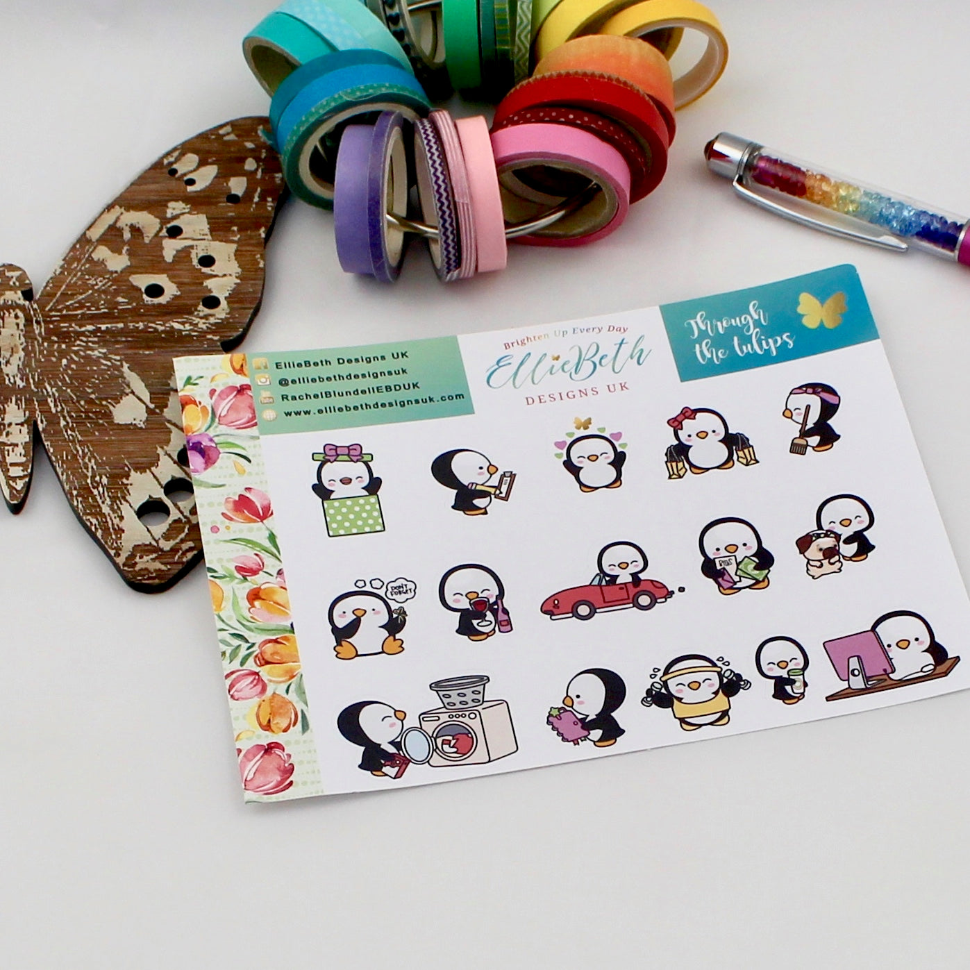 'Through the Tulips' - A Penguin For Every Occasion -  binder ready planner stickers - EllieBeth Designs UK