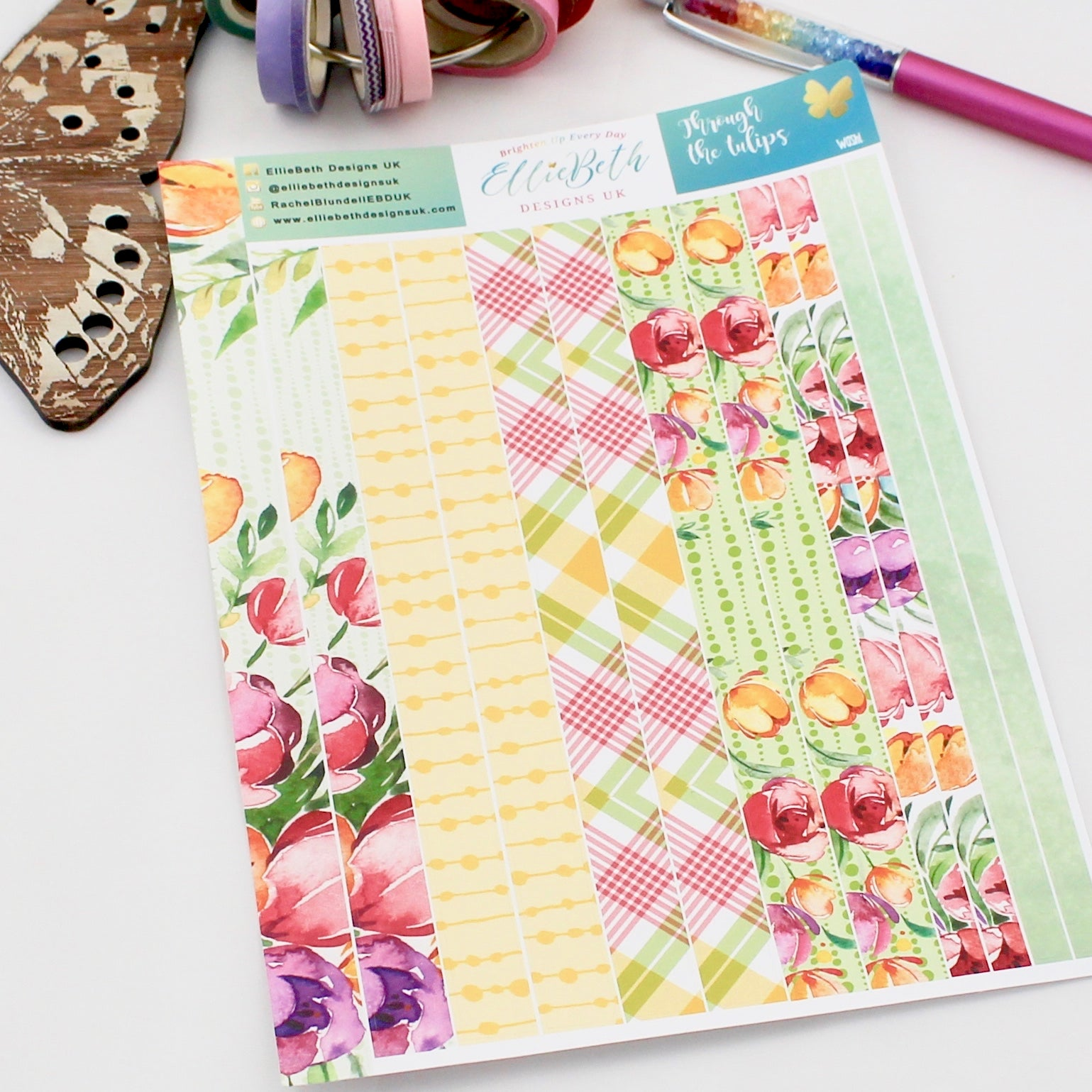 'Through the Tulips' - Washi Strips -  A5 binder ready planner stickers