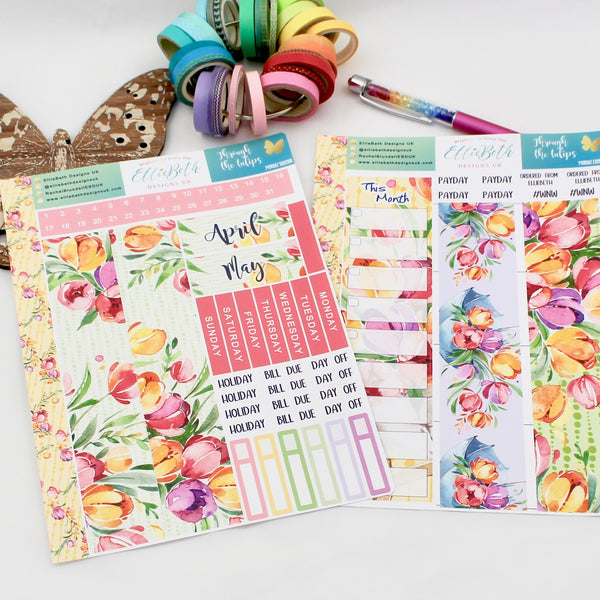 'Through the Tulips' - Monthly View Kit -  A5 binder ready planner stickers - EllieBeth Designs UK