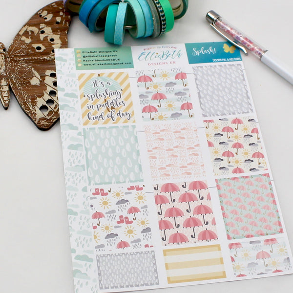 'Splash!' - Designer Full and Half Boxes Sheet -  A5 binder ready planner stickers - EllieBeth Designs UK