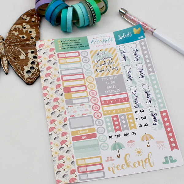 'Splash!' - A5 Core Sheet - A5 binder ready planner stickers