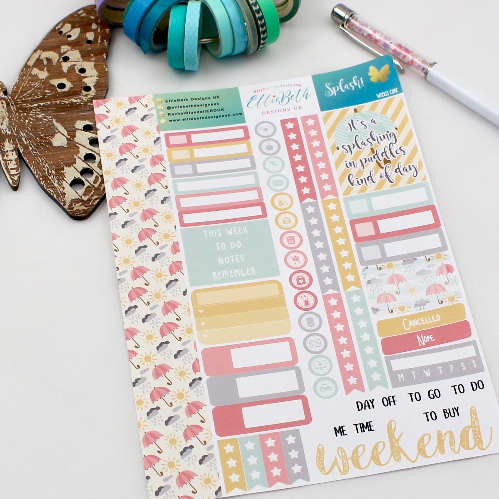 'Splash!' - Weekly Core Sheet - A5 binder ready planner stickers
