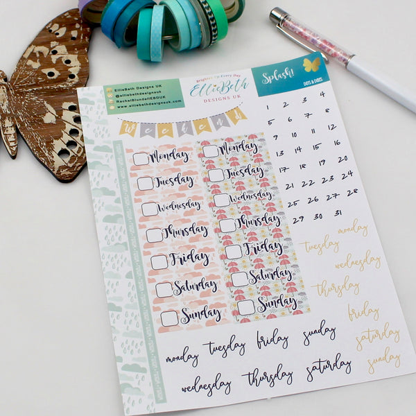 'Splash!' - Days and Dates - A5 binder ready planner stickers