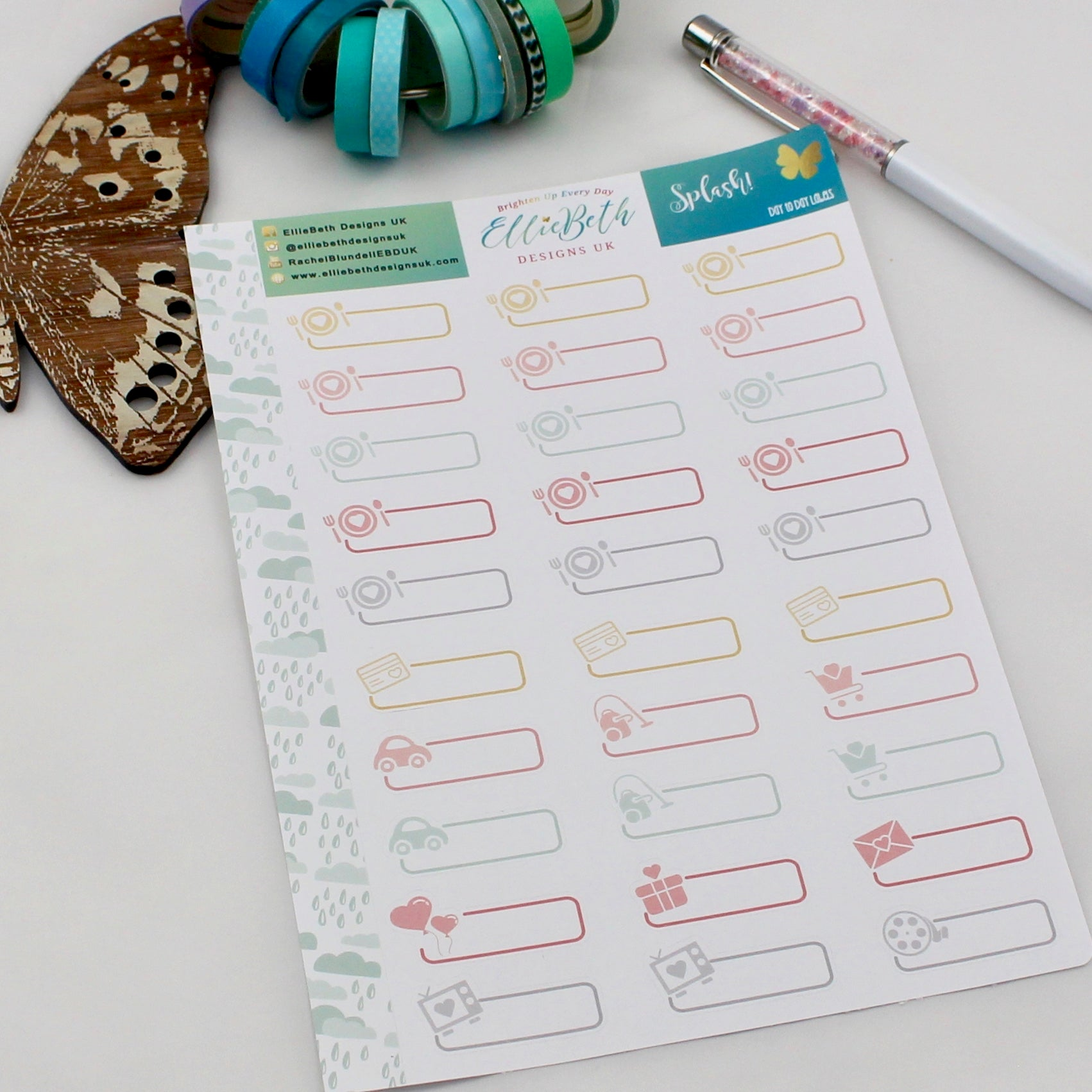 'Splash!' - Day to Day Labels - A5 binder ready planner stickers - EllieBeth Designs UK