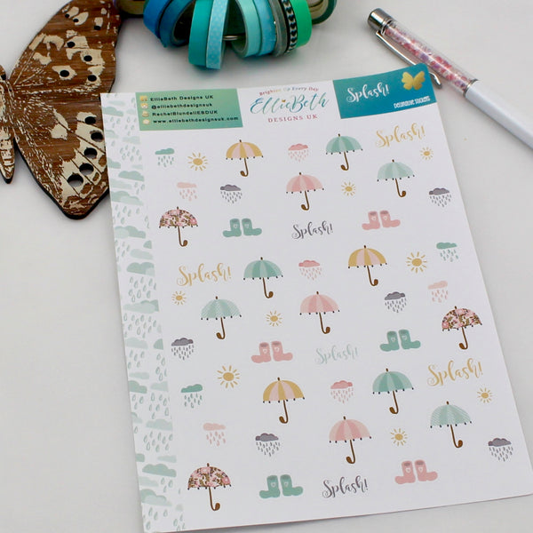 'Splash!' - Decorative Sheet -  A5 binder ready planner stickers