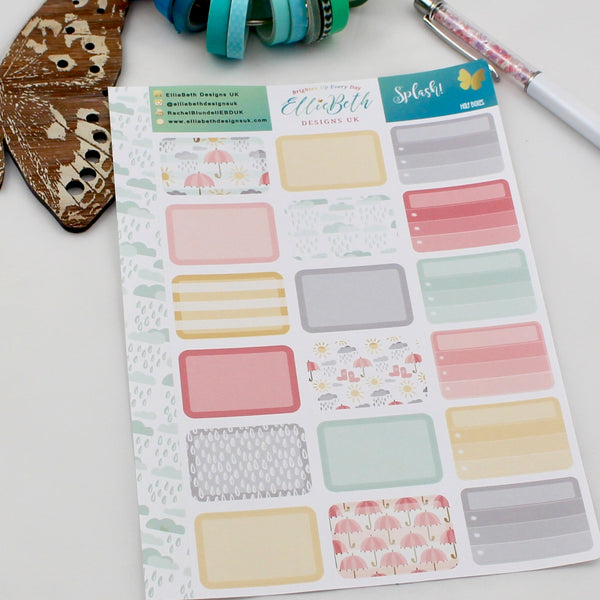 'Splash!' - Half Boxes -  A5 binder ready planner stickers - EllieBeth Designs UK