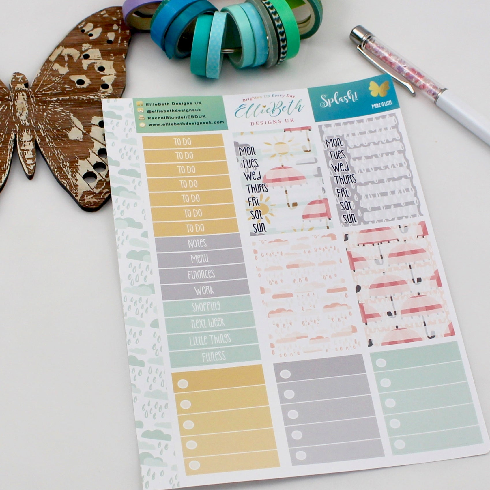 'Splash!' - Make a List Sheet -  A5 binder ready planner stickers - EllieBeth Designs UK