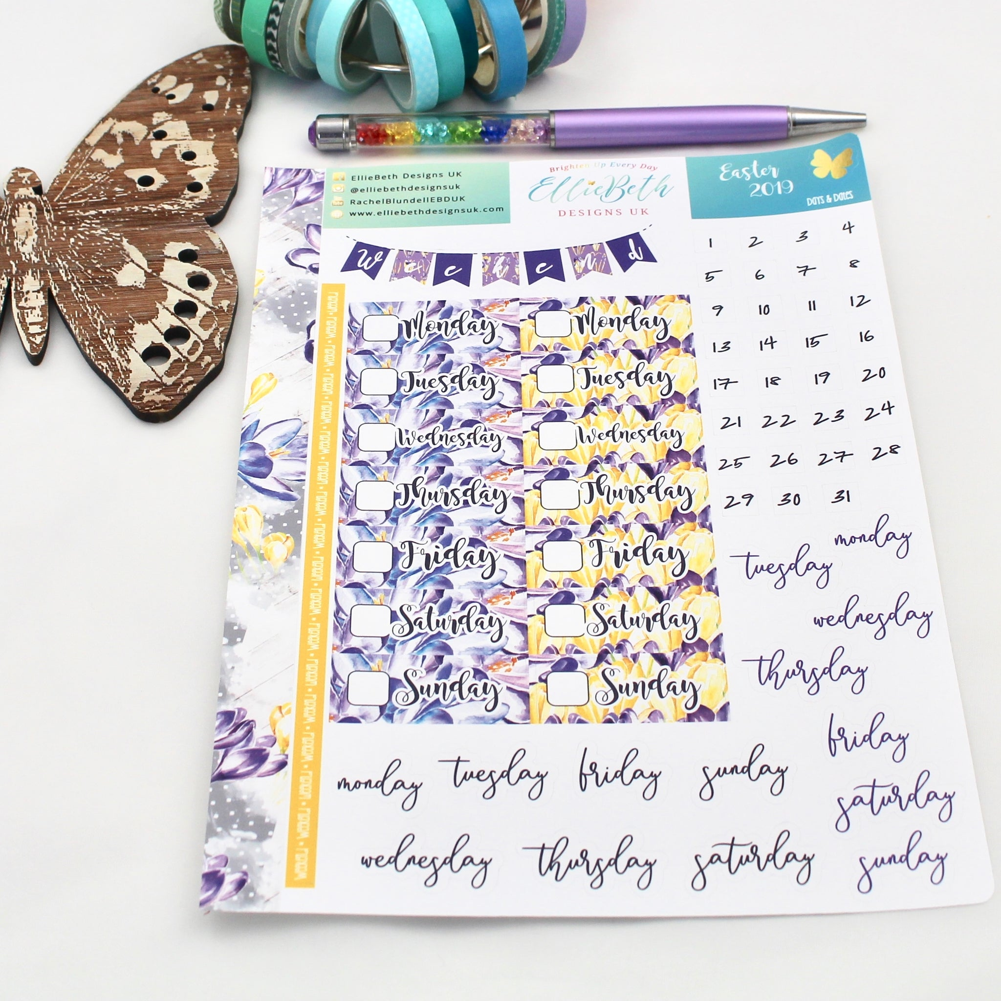 Easter 2019 - Days and Dates - A5 binder ready planner stickers